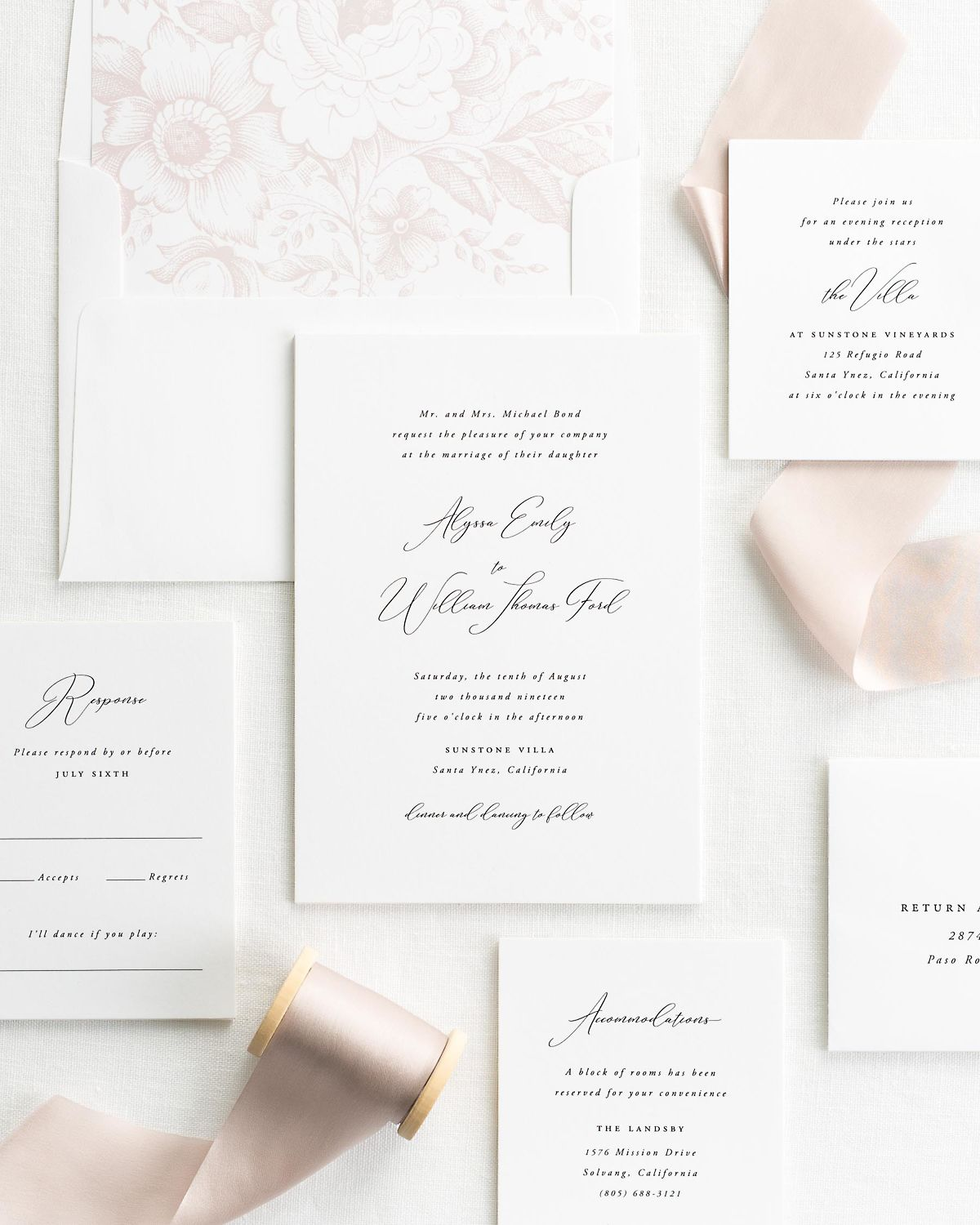 Wedding Invitation Suite with Antoinette Silk Ribbon