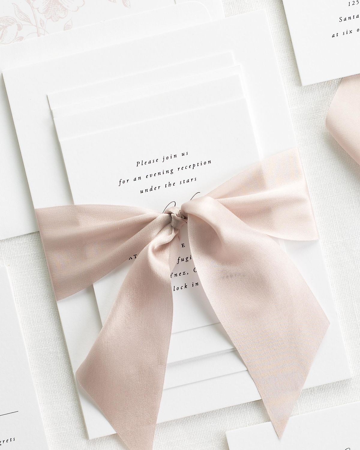 Complete Wedding Stationery Suite with Antoinette Blush Pink Ribbon and Enclosures