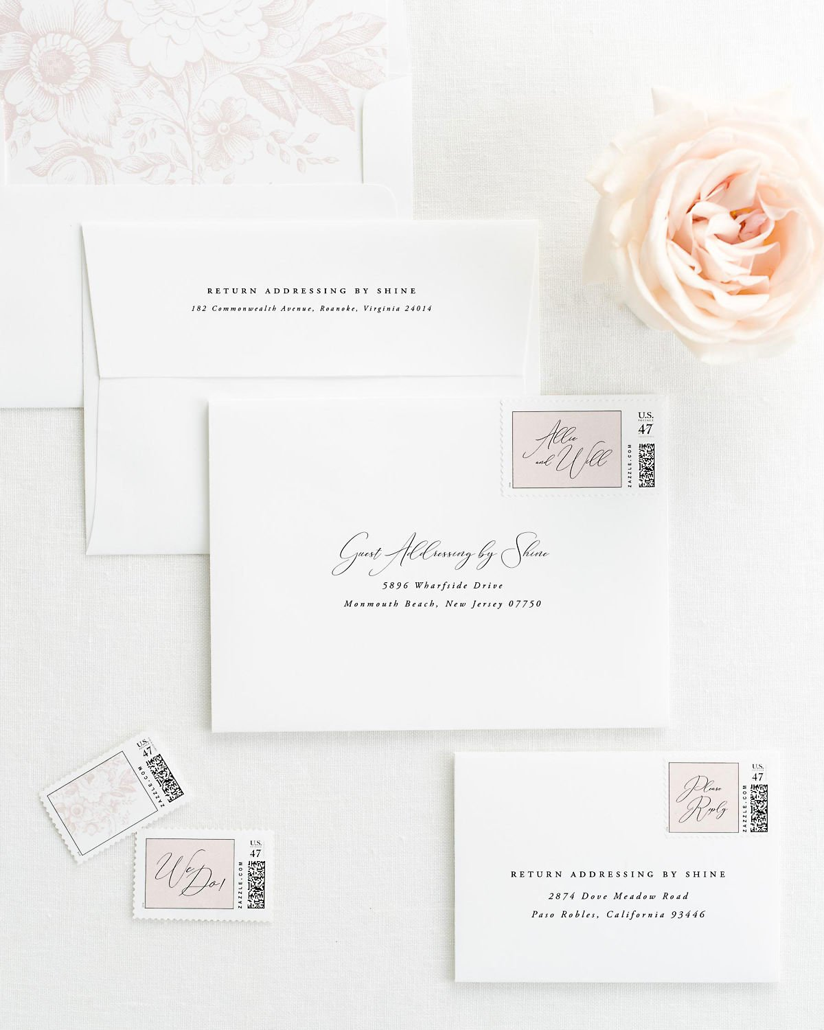 Wedding Invitation Envelopes with Pre-Printed Addresses and Matching Vintage Blush Custom Stamps
