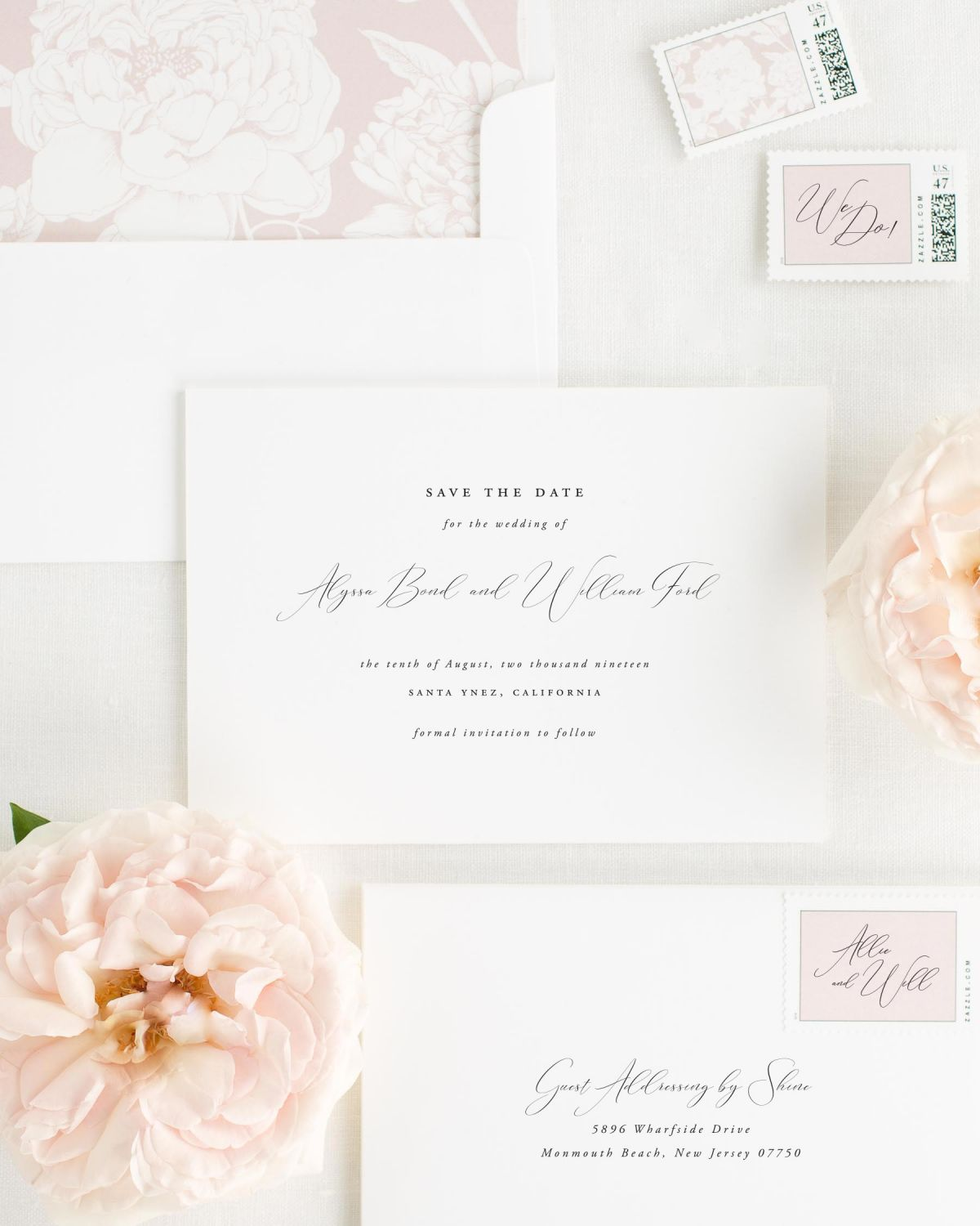 Save the Date with Vintage Blush Envelope Liner and Custom Stamps