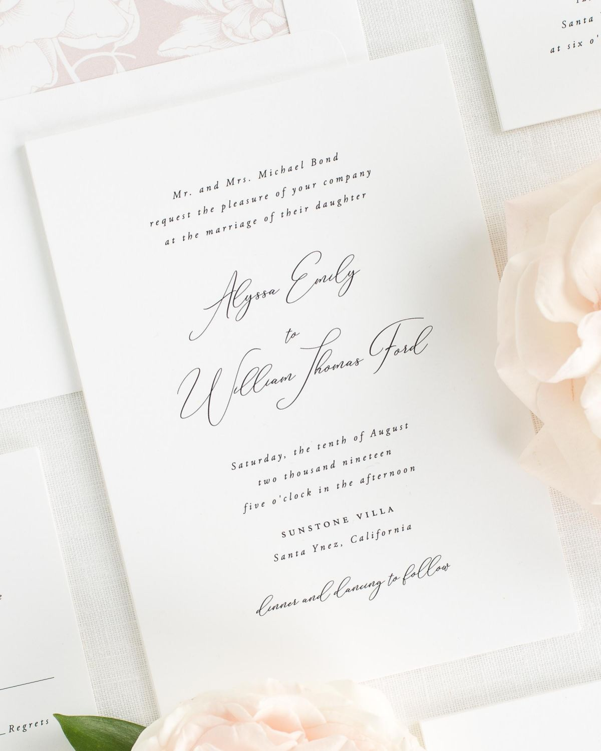 classic wedding invitations with a vintage blush envelope liner