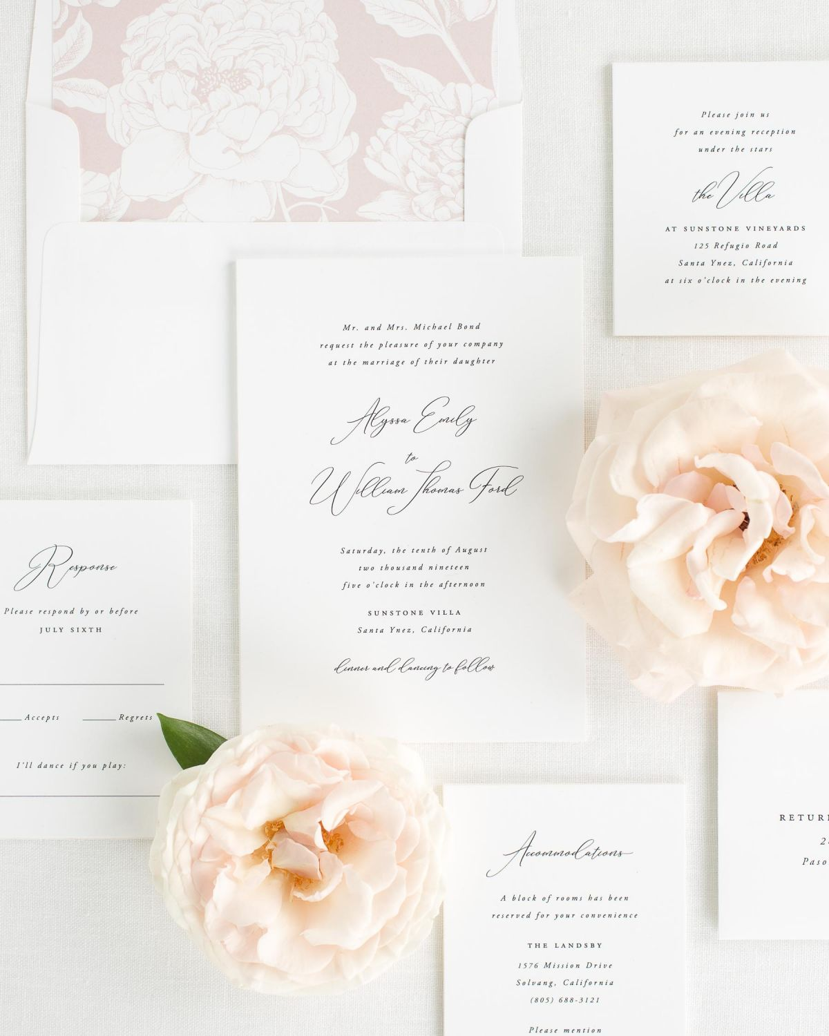 Wedding Invitation Suite with Vintage Blush Envelope Liner