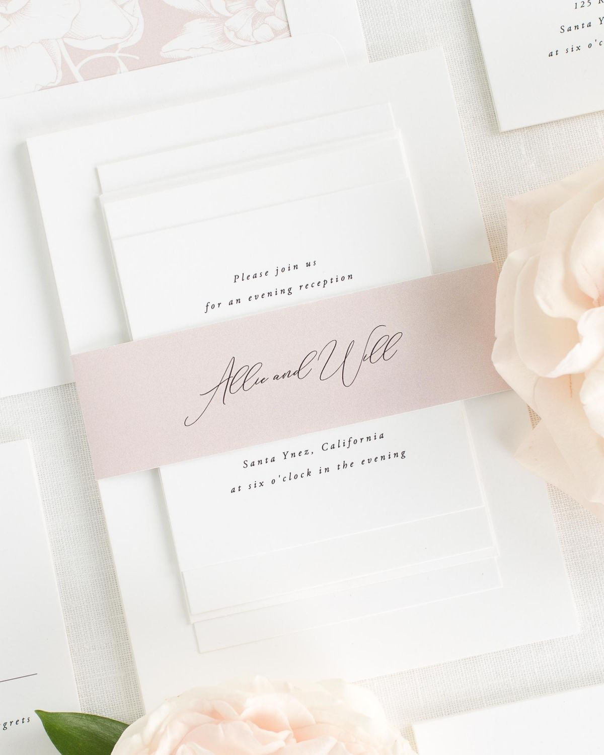 Vintage Blush Wedding Invitations with Belly Band and Blooms Envelope Liner