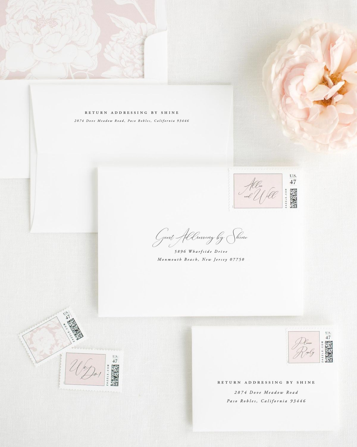 Wedding Invitation Envelopes with Vintage Blush Custom Stamps and Blooms Liner