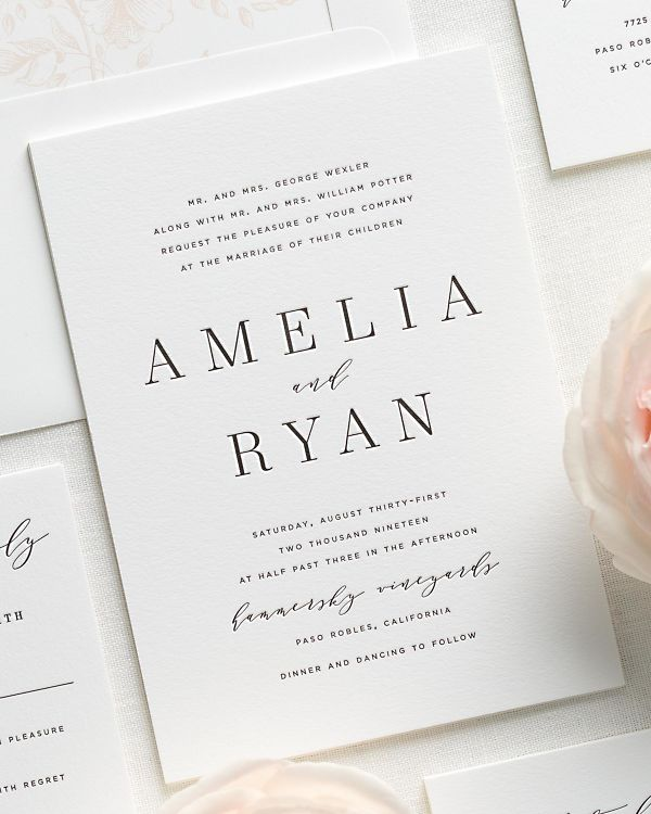 modern calligraphy letterpress wedding invitations with a light pink liner
