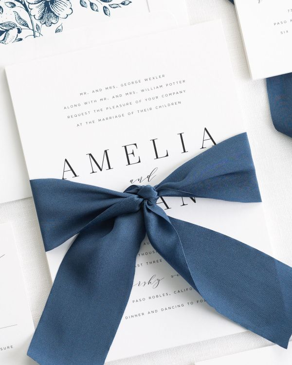 Classic Ribbon Invitations with a floral envelope liner in navy