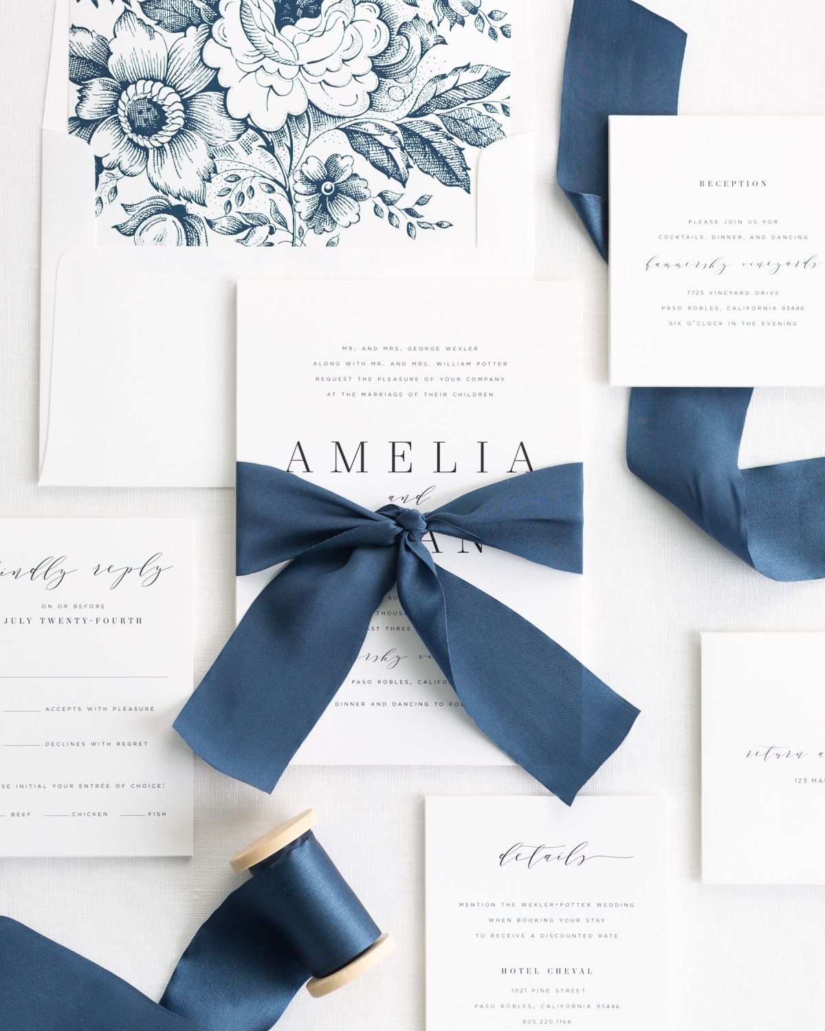Simple and Classic Wedding Invitations with a Navy Blue Silk Ribbon
