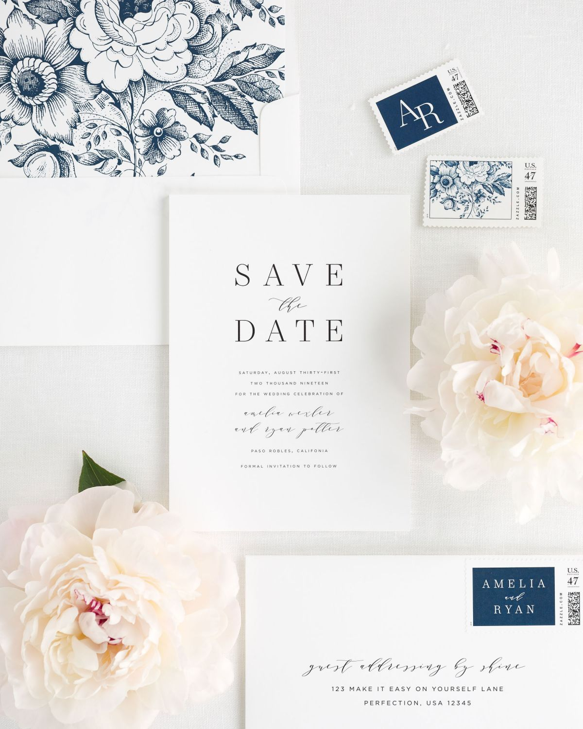 save the dates with navy custom stamps