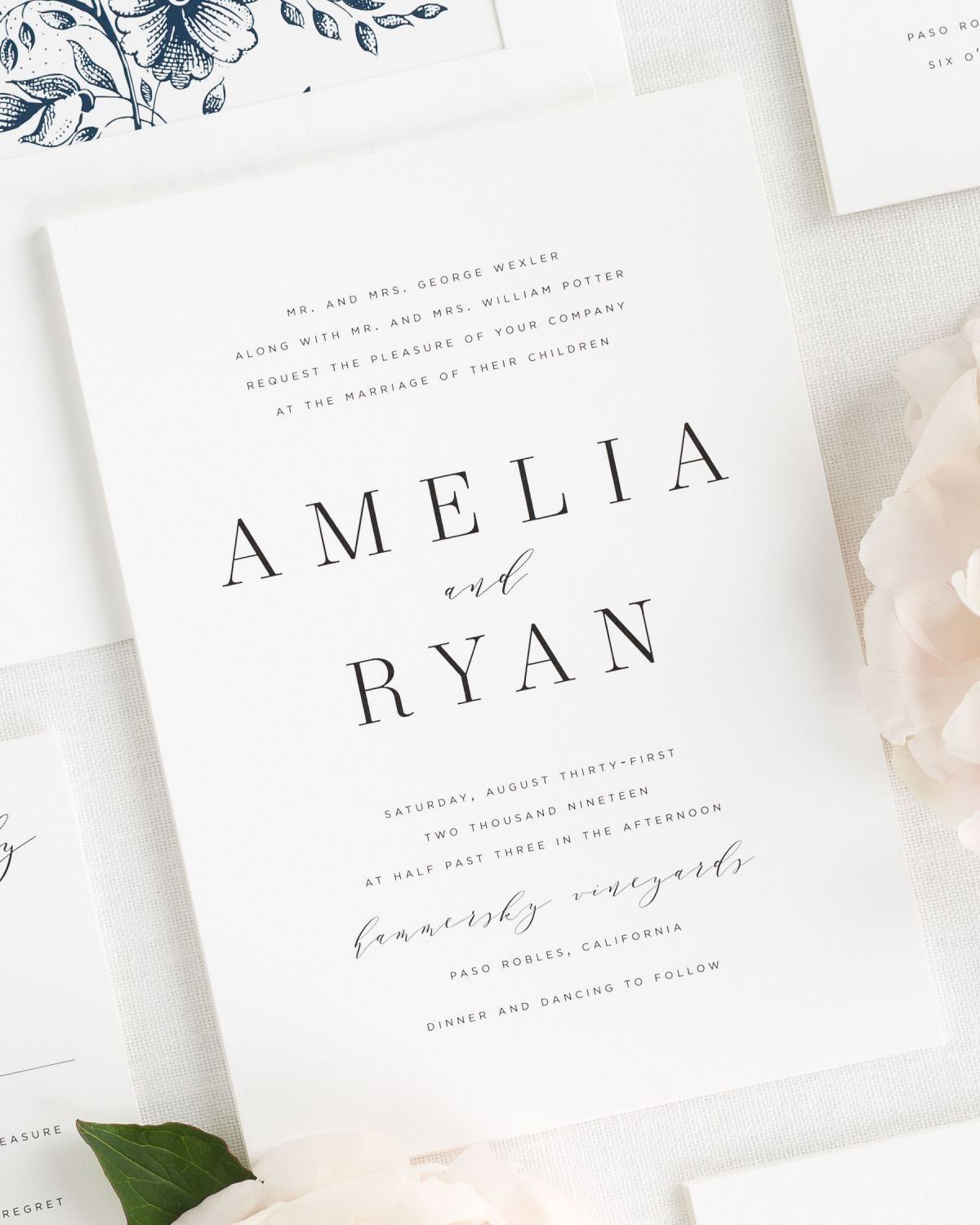 modern and romantic wedding invitations with a navy envelope liner