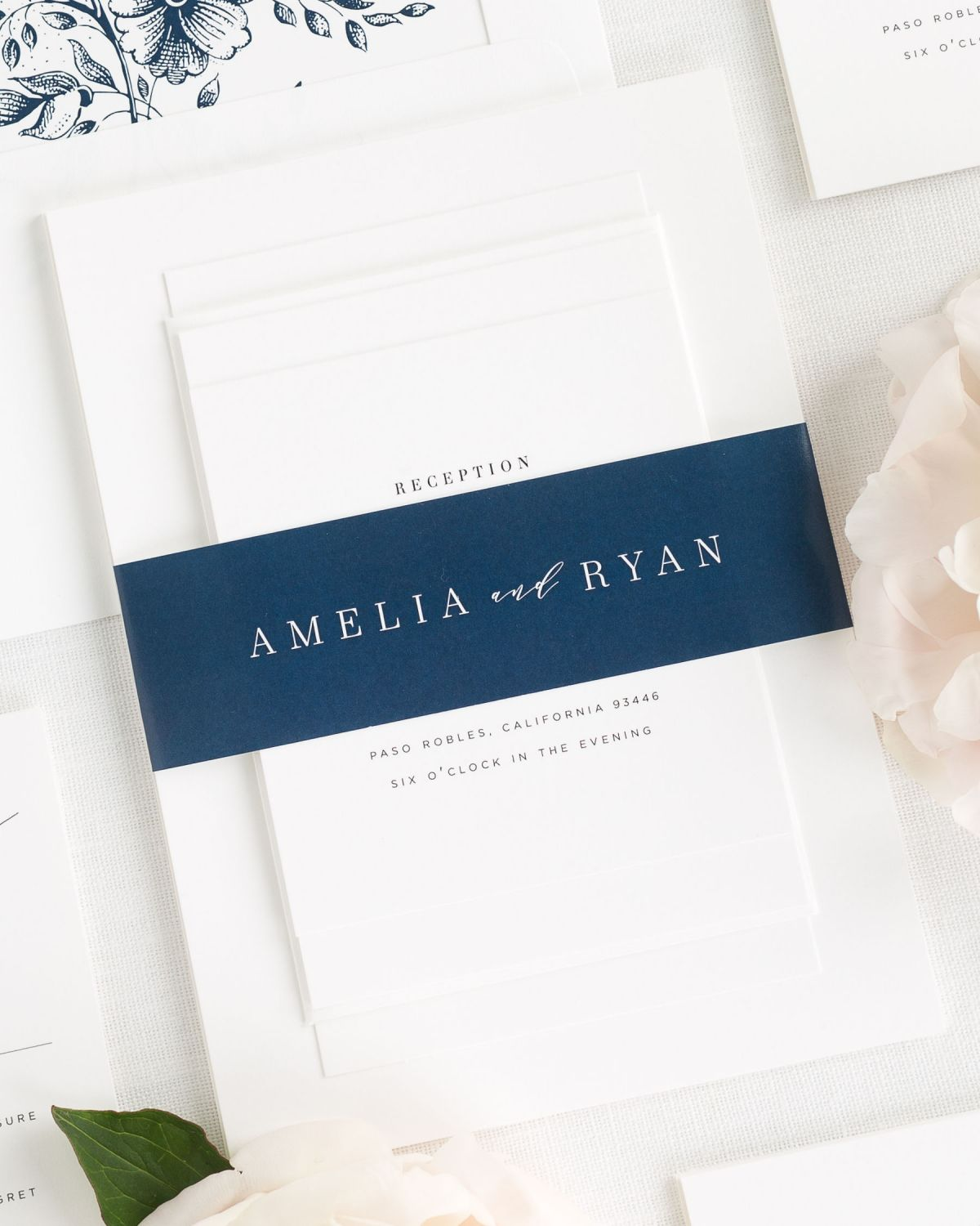 wedding invitations with a navy belly band