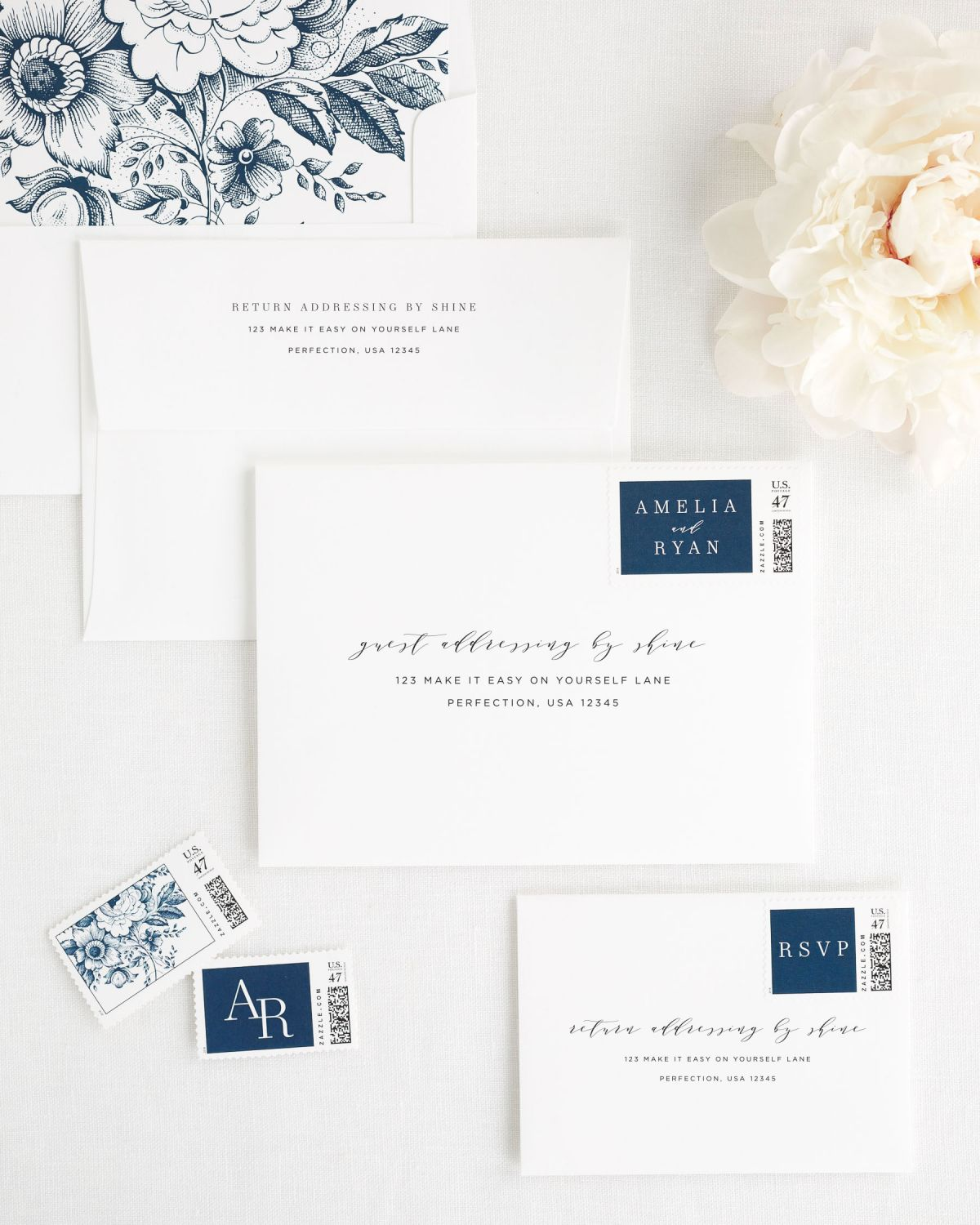 ... Invitation Envelopes With Guest Address Printing, Custom Postage  Stamps, And An Envelope Liner In Wedding Invitation Components