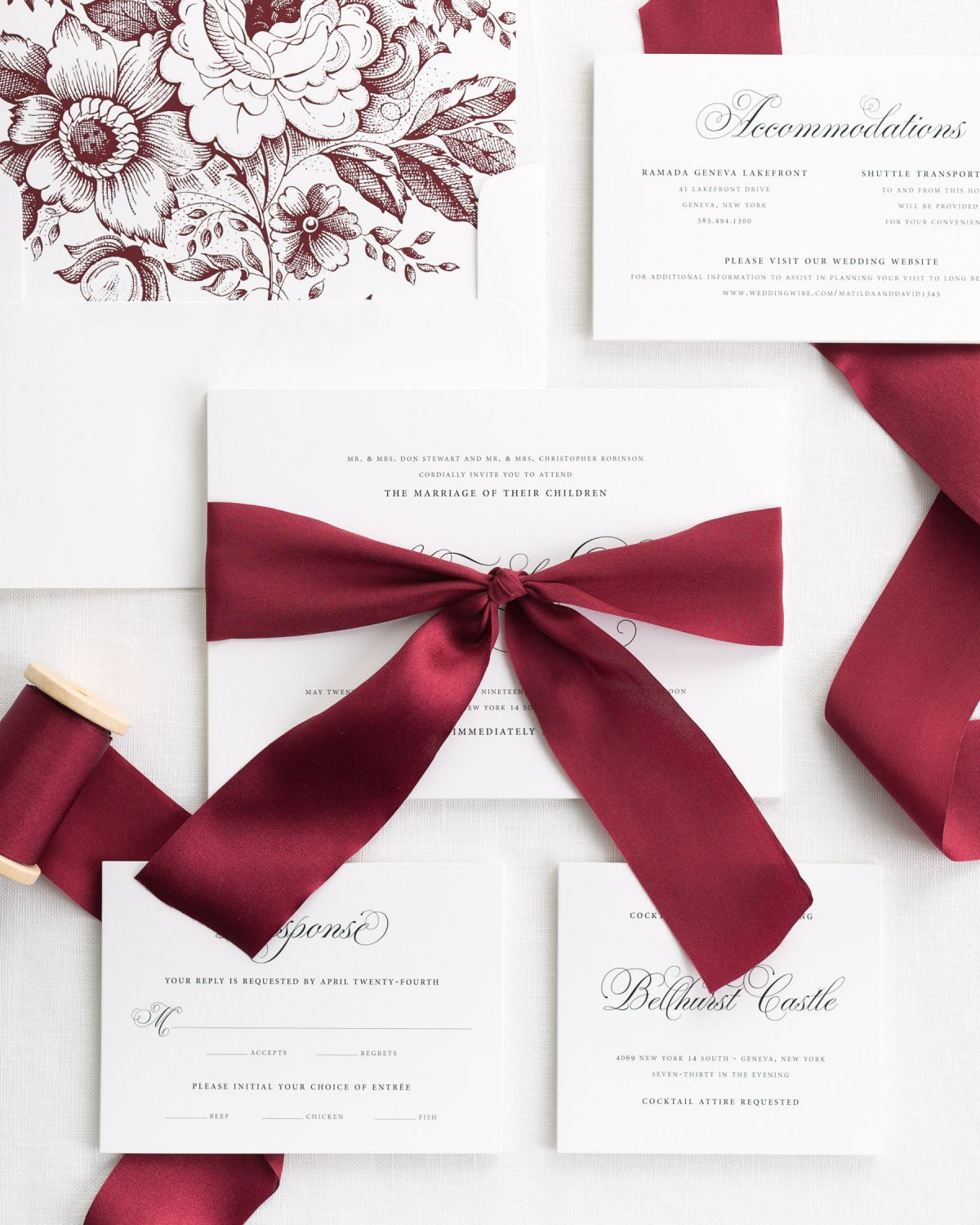 Complete Wedding Invitation Package with Red Ribbon and Enclosures