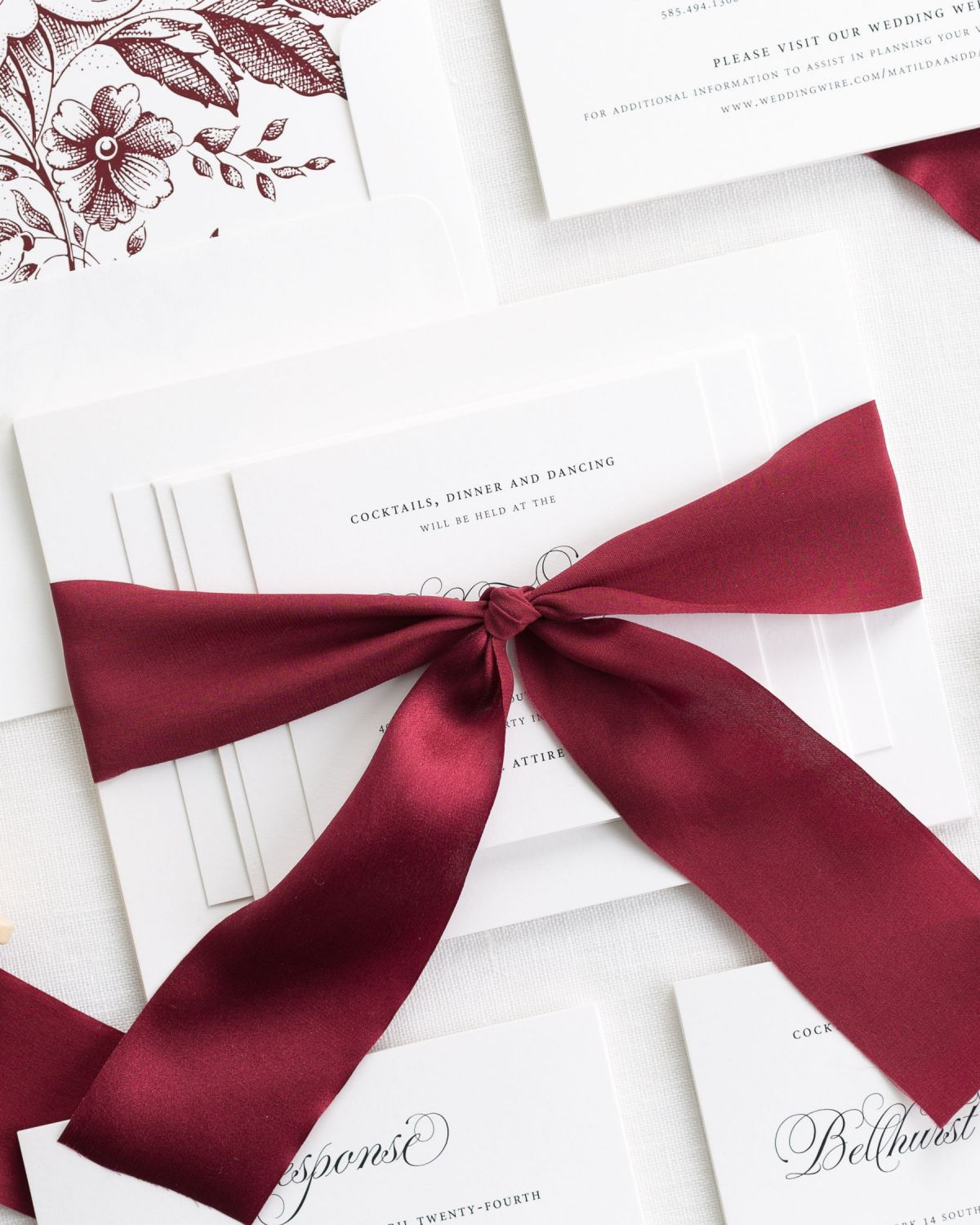 Dark Red Wedding Invitaitons with Silk Ribbon