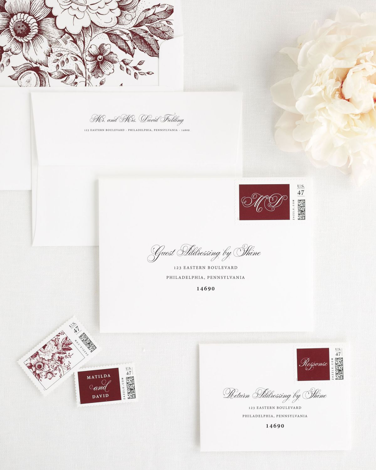 Wedding Invitation Envelopes with Cabernet Personalized Stamps and Floral Liner
