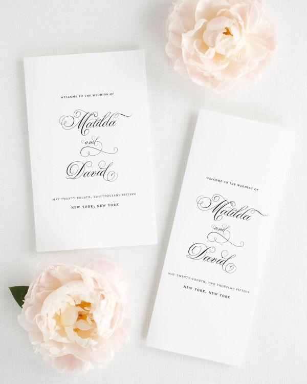 Angelic Script Booklet Wedding Programs