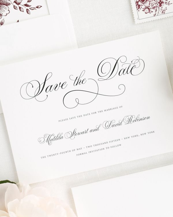 Angelic Script Save the Date Cards