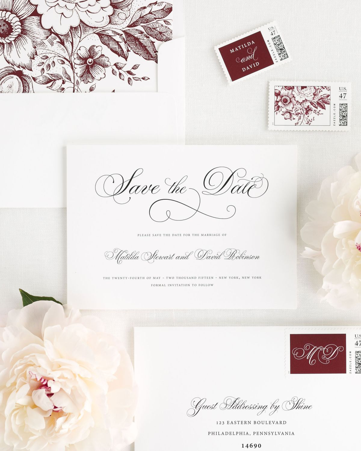 Save the Date with Cabernet Envelope Liner adn Custom Stamps