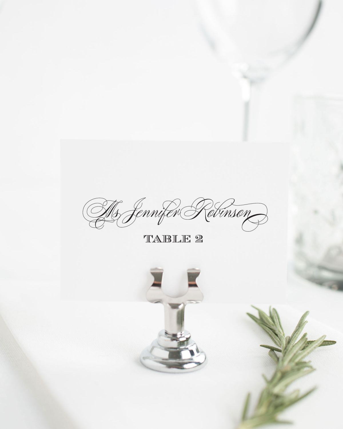 Small Script Names Place Cards