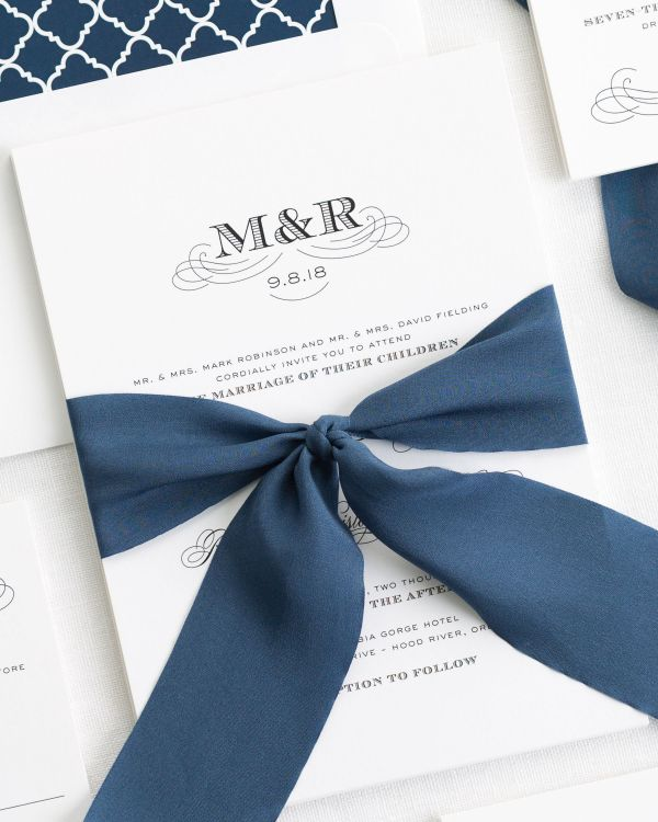 Antique Monogram Ribbon Wedding Invitations