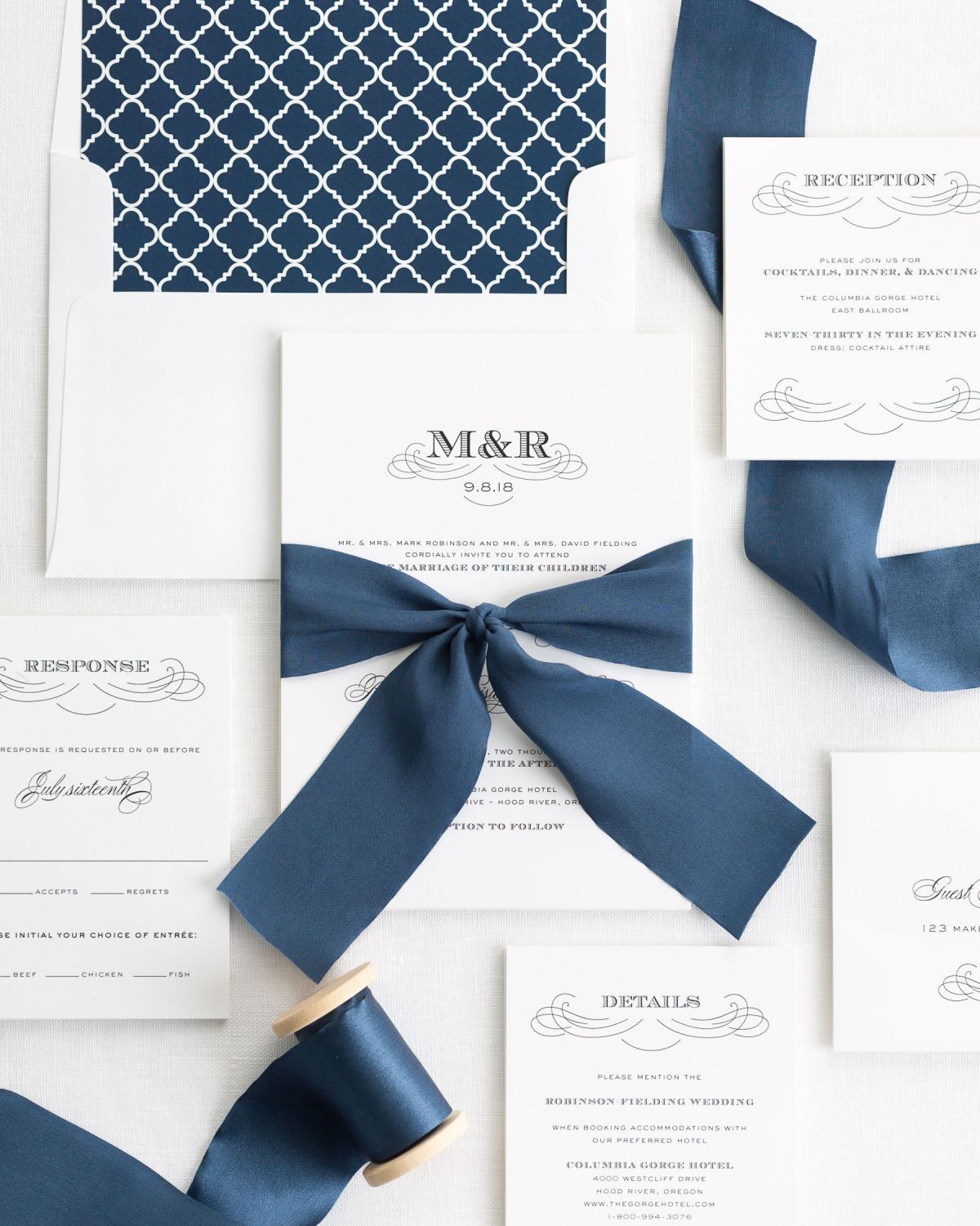 Complete Wedding Invitation Package with Dark Blue Ribbon and Enclosures
