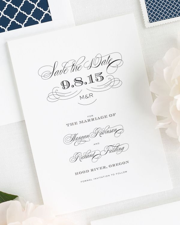 Antique Monogram Save the Date Cards