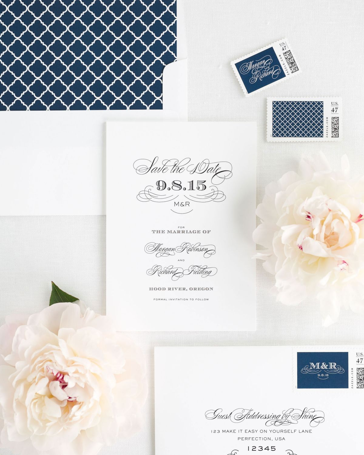 Save the Date with Navy Envelope Liner and Custom Postage Stamps