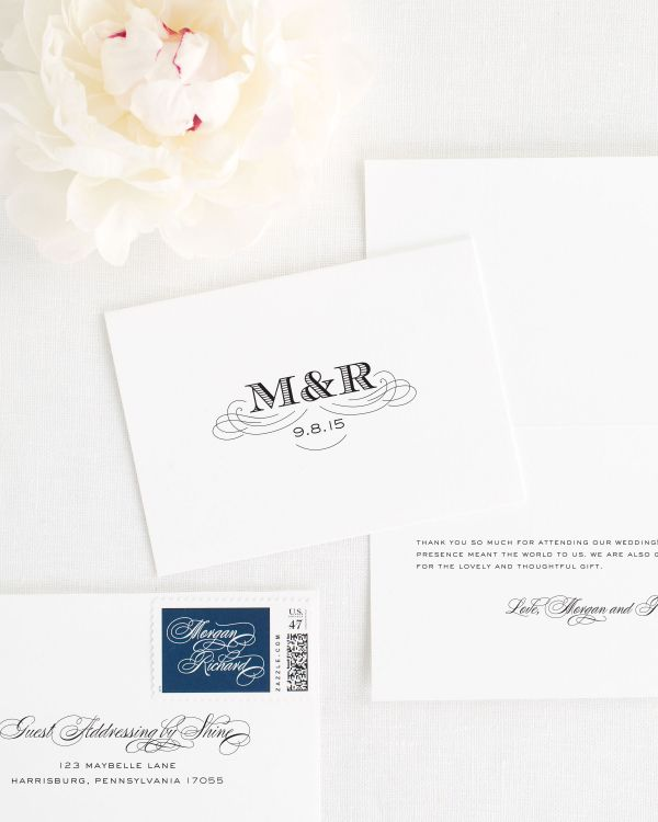 Antique Monogram Thank You Cards