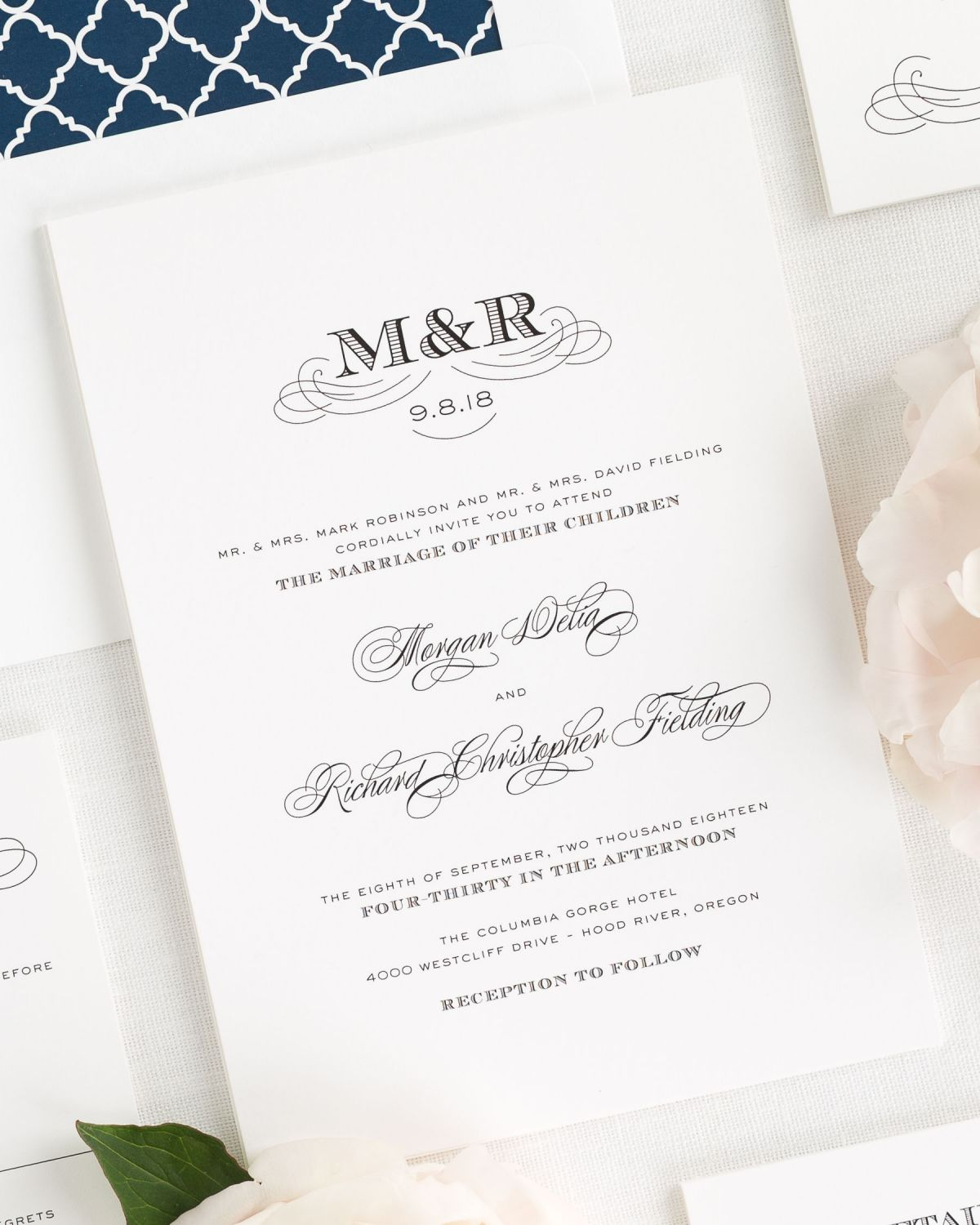 antique monogram wedding invitations