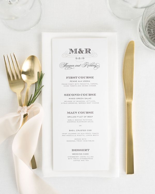 Antique Monogram Wedding Menus