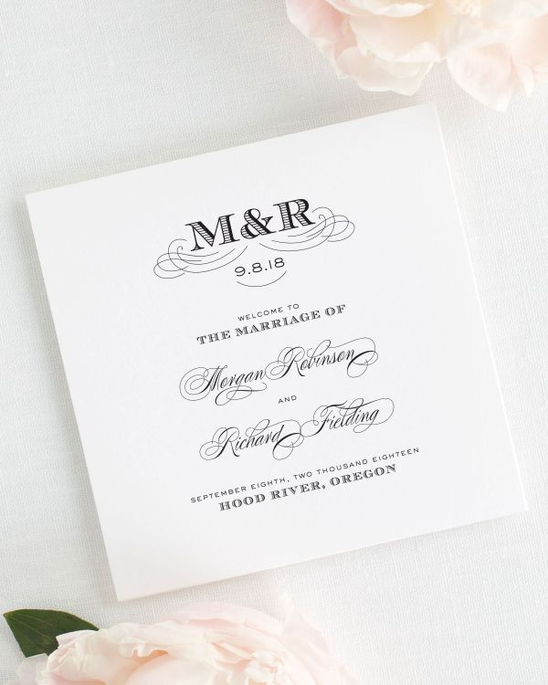 Antique Monogram Wedding Programs