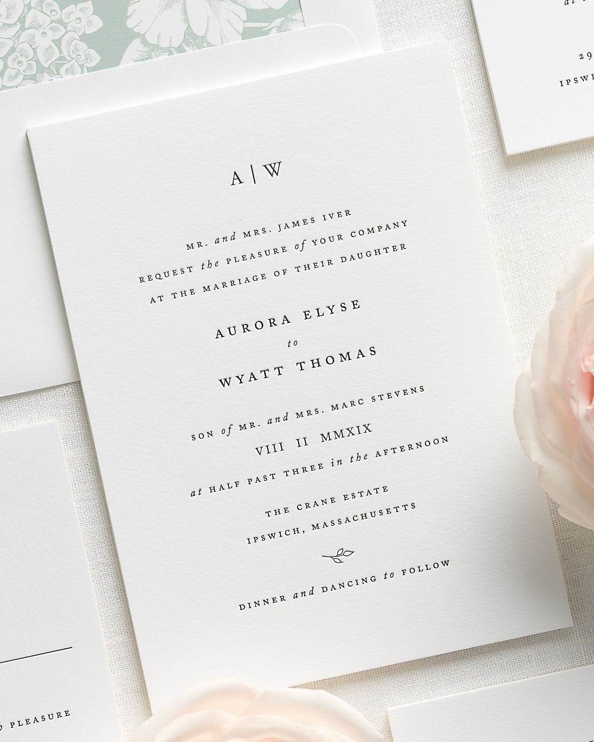 Simple serif wedding invitations with a green floral liner wedding simple serif letterpress wedding invitations with a green floral liner stopboris Choice Image