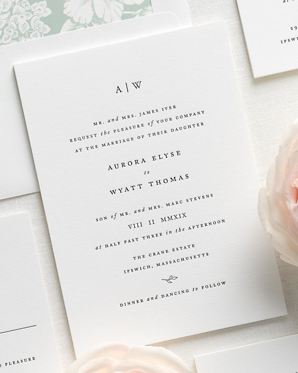 Aurora Letterpress Wedding Invitations