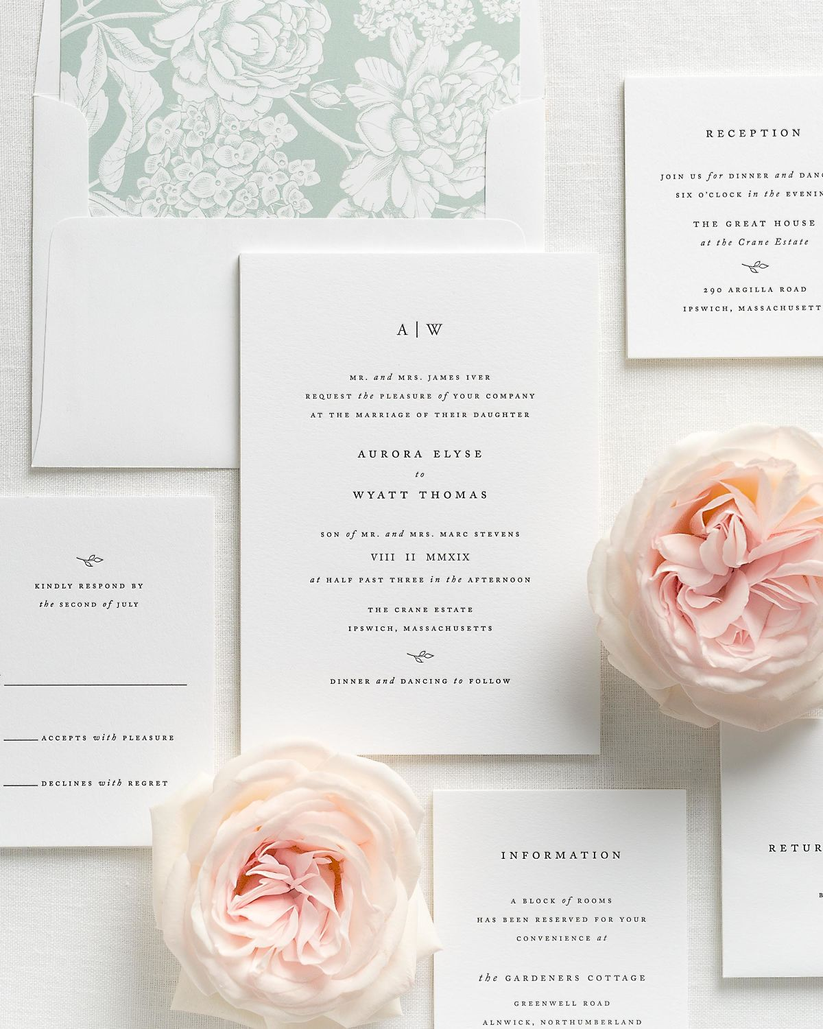 Letterpress Wedding Invitations with Sea Salt Hydrangea Envelope Liner and Matching Accessories
