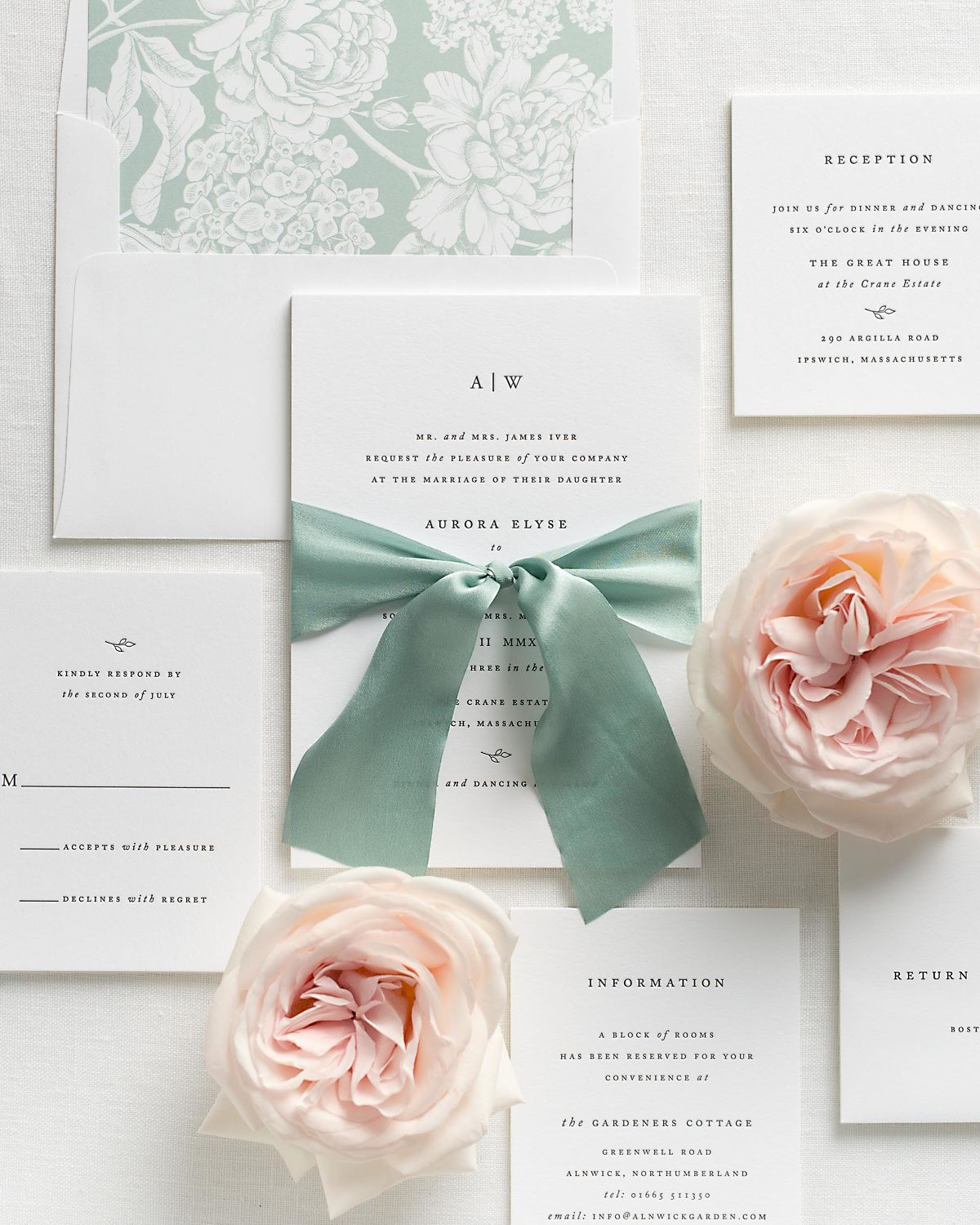 Sea Salt Wedding Invitations with Laurel Silk Ribbon and Letterpress Printing