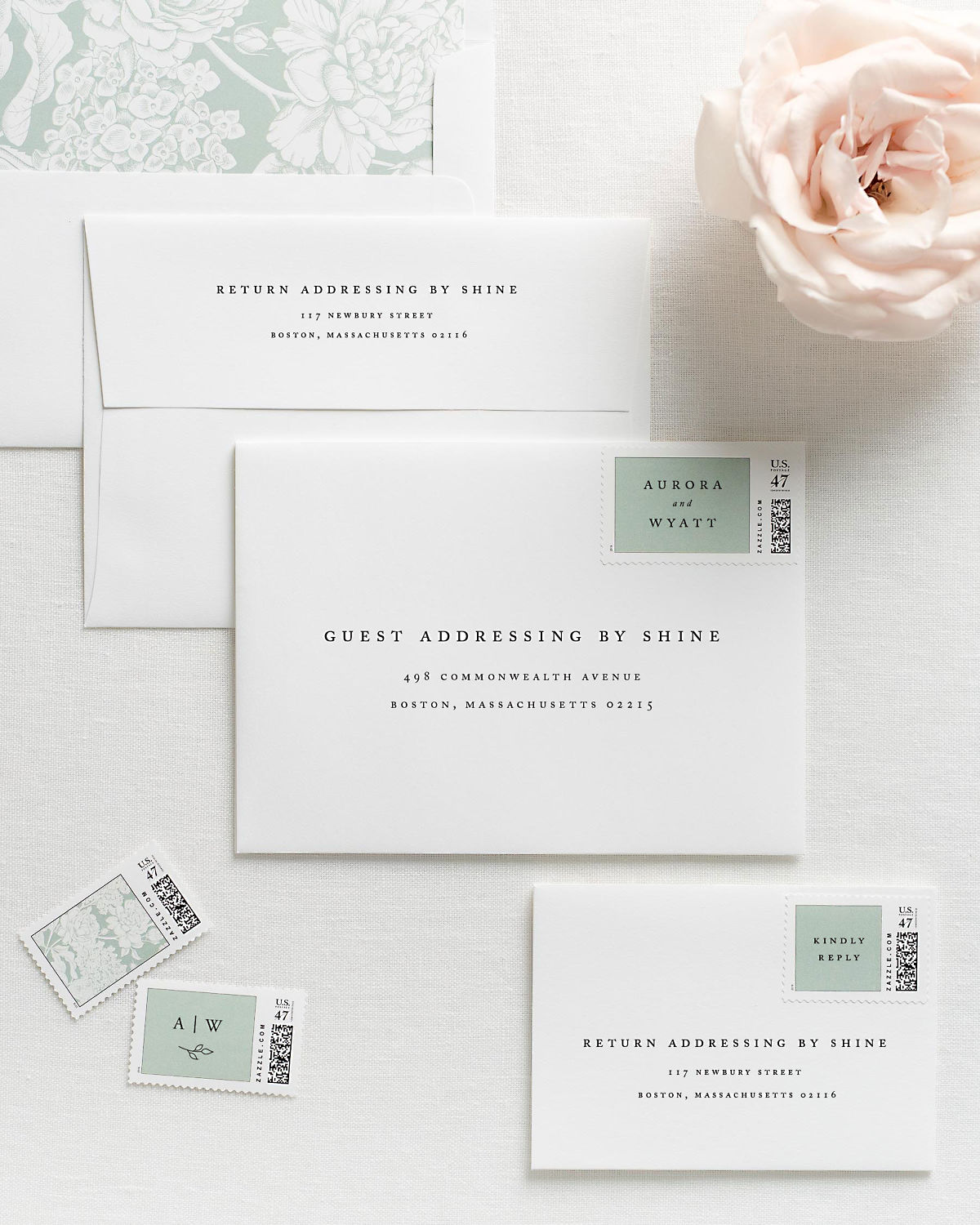 Wedding Invitation Envelopes with Pre-Printed Addresses and Matching Sea Salt Custom Postage