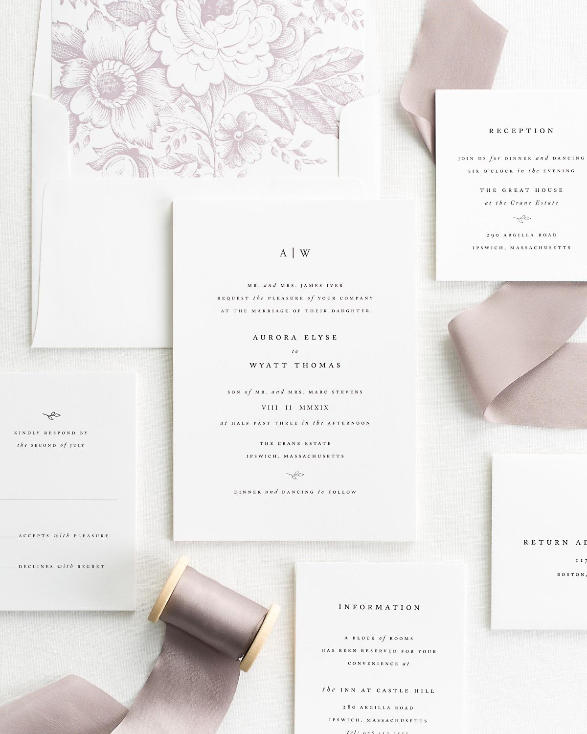 Wedding Invitation Suite with Heather Silk Ribbon