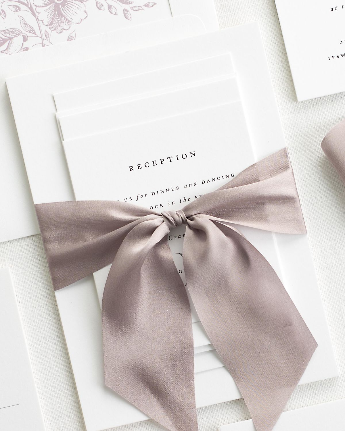 Complete Wedding Stationery Suite with Heather Ribbon and Enclosures