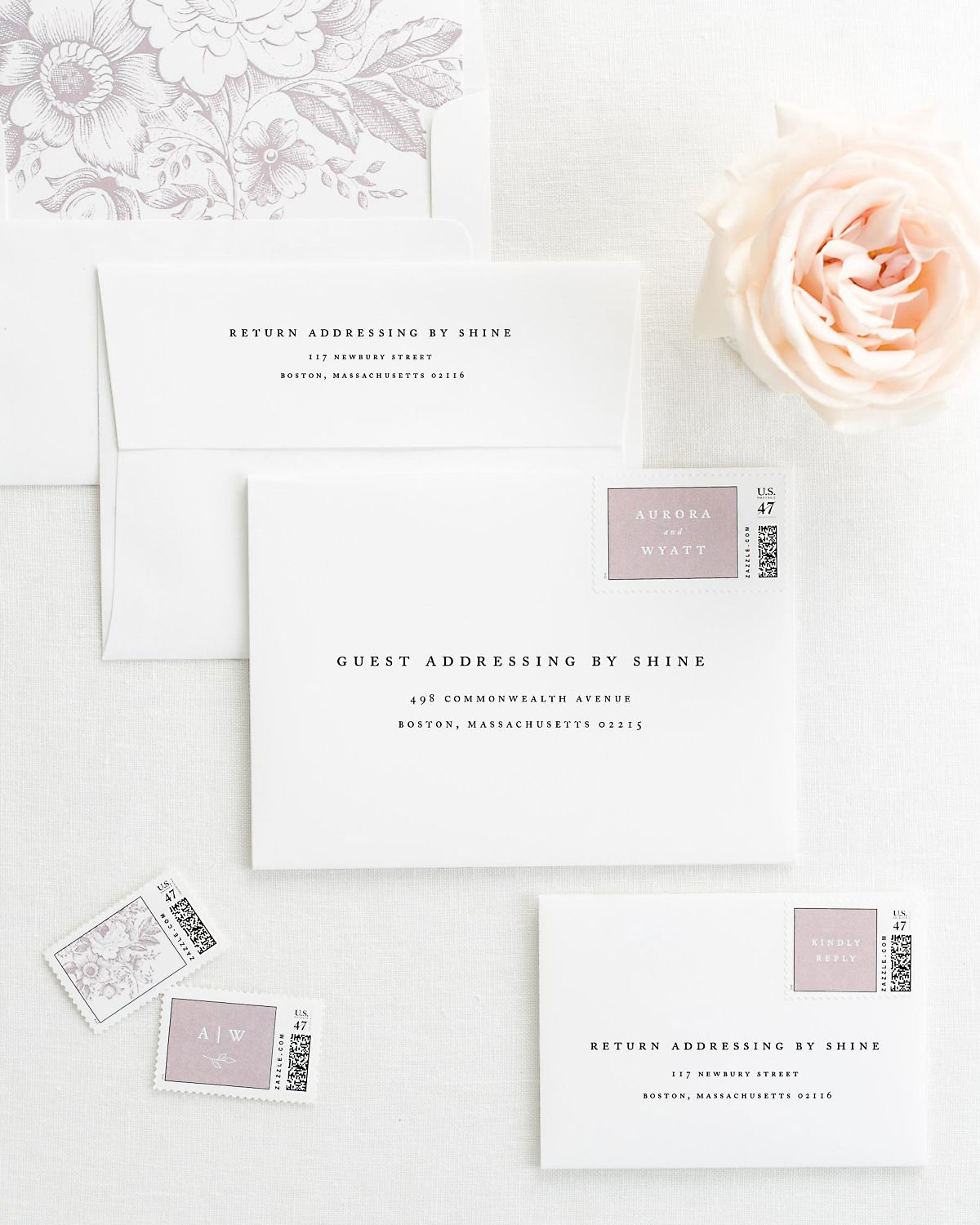 Wedding Invitation Envelopes with Pre-Printed Addresses and Matching Mauve Custom Postage