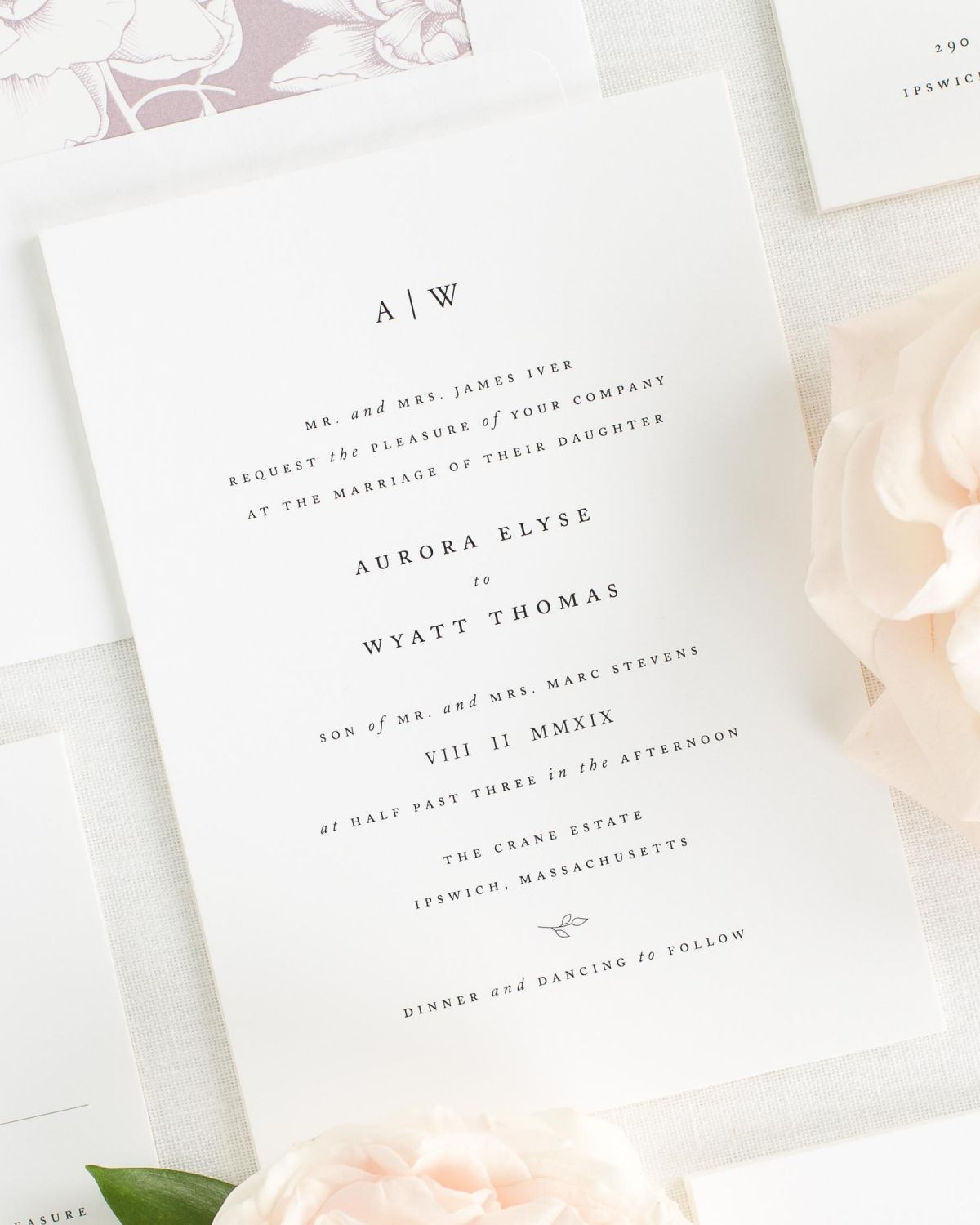 classic wedding invitations with a mauve envelope liner