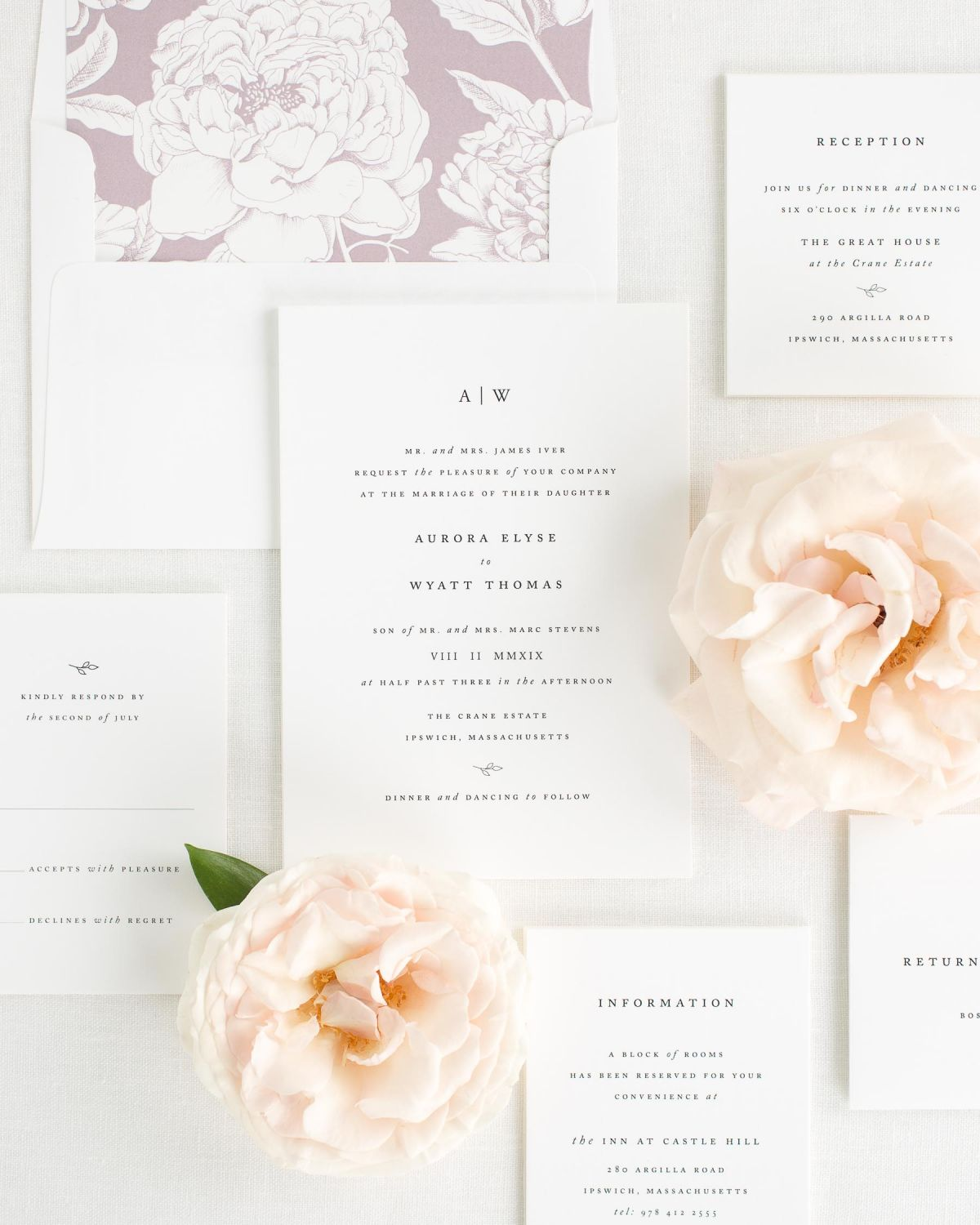Wedding Invitation Package with Mauve Envelope Liner
