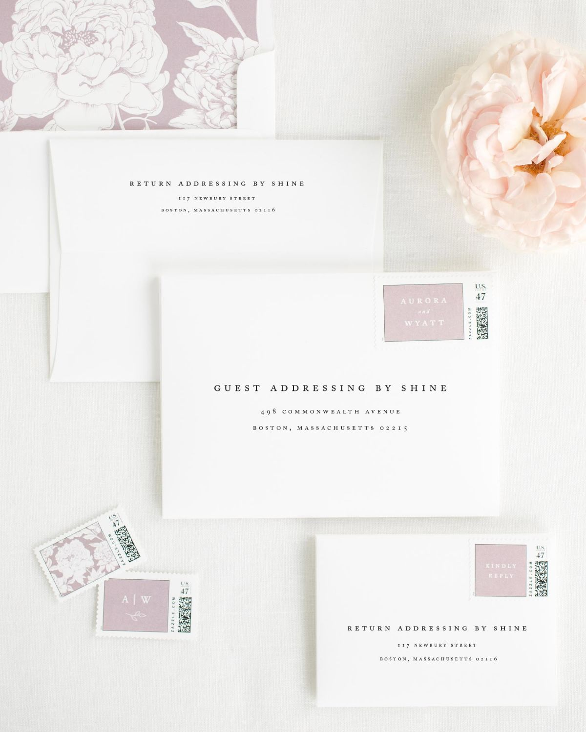 Wedding Invitation Envelopes with Mauve Personalized Postage and Blooms Liner