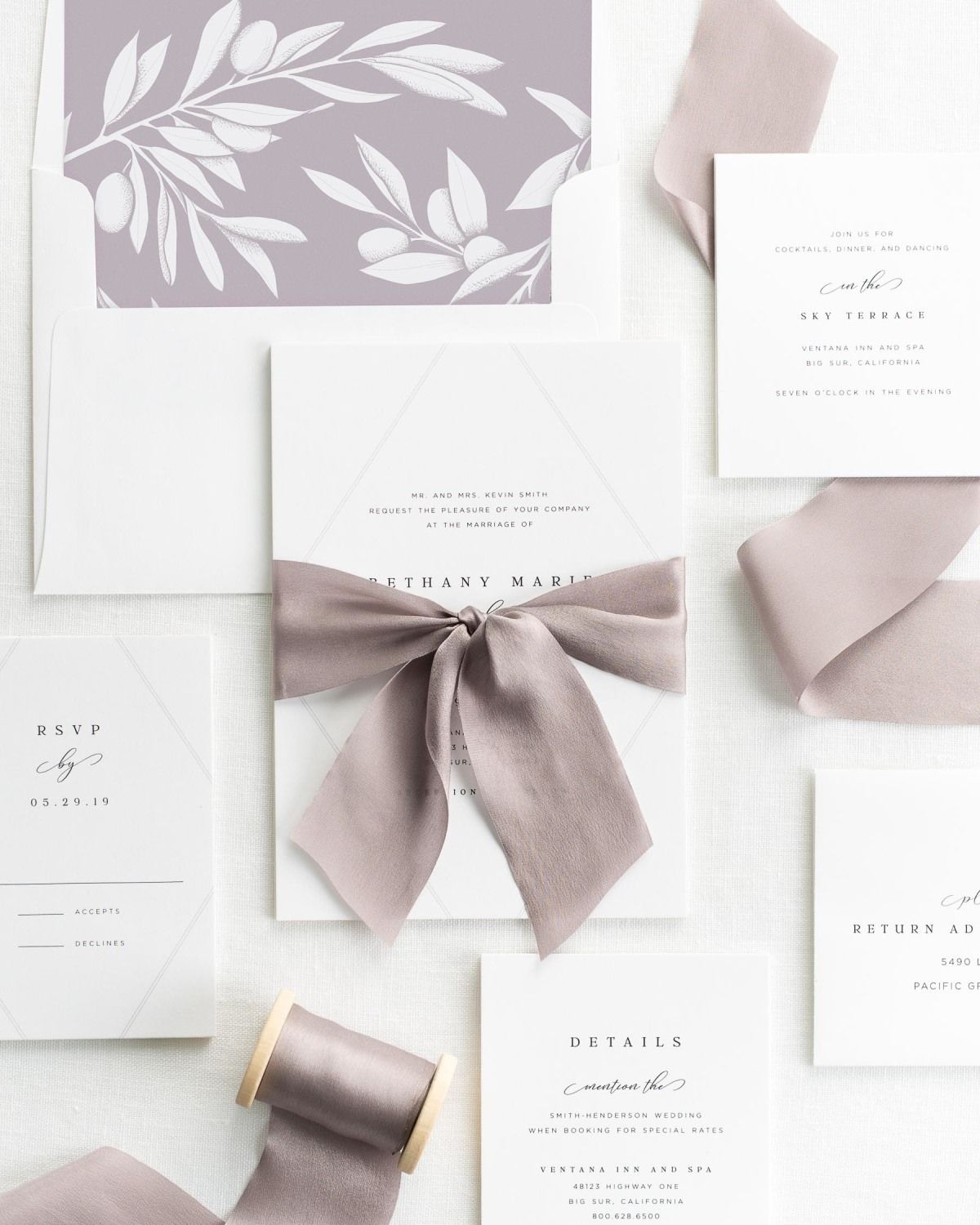 Willow Wedding Invitations with Silk Ribbon