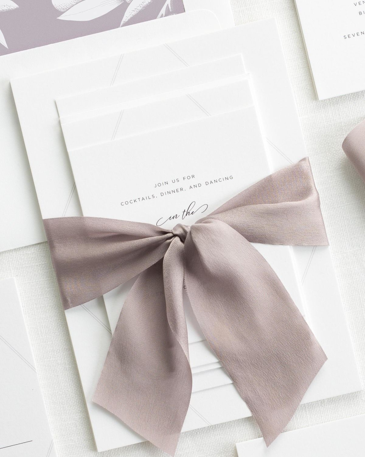 Complete Wedding Stationery Suite with Heather Purple Ribbon and Enclosures