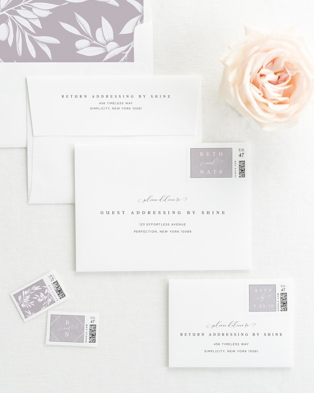 Wedding Invitation Envelopes with Pre-Printed Addresses and Matching Willow Custom Stamps