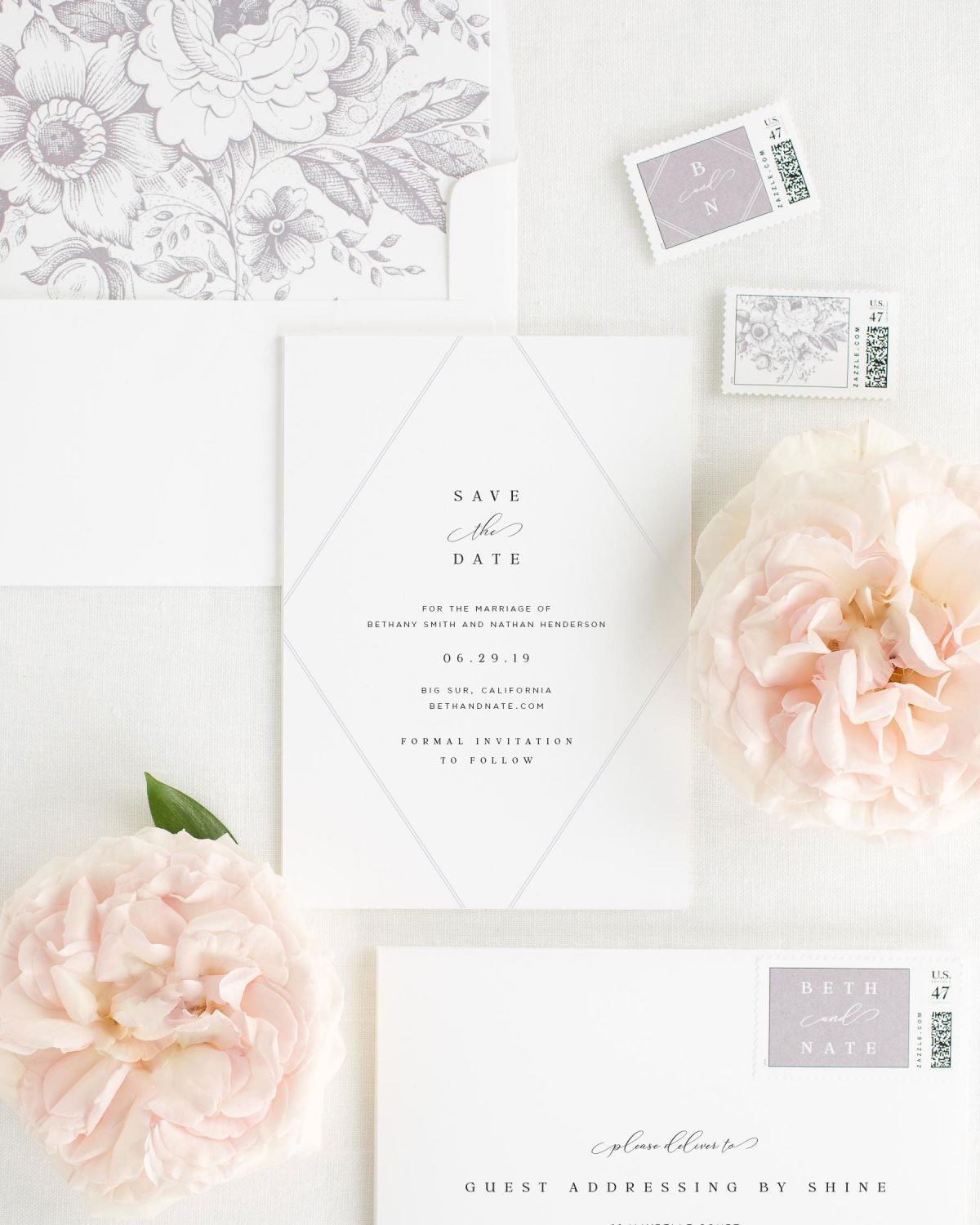 save the dates with custom stamps