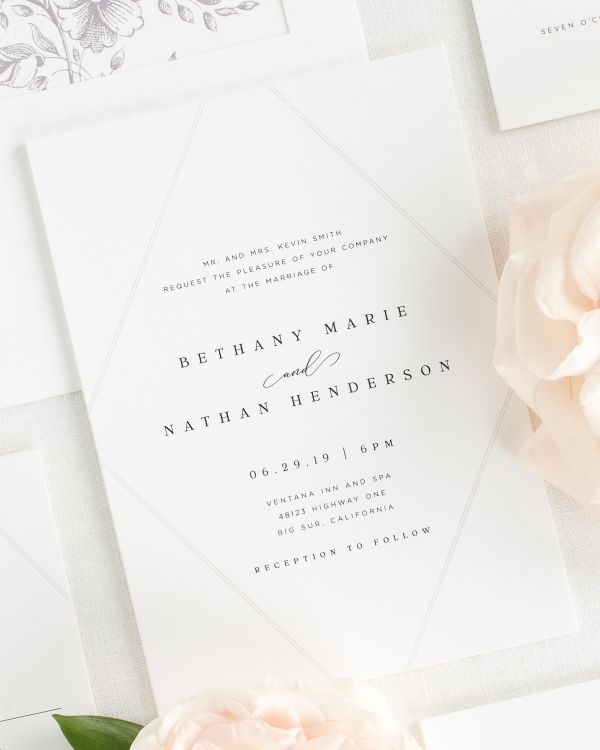 classic wedding invitations with a willow envelope liner