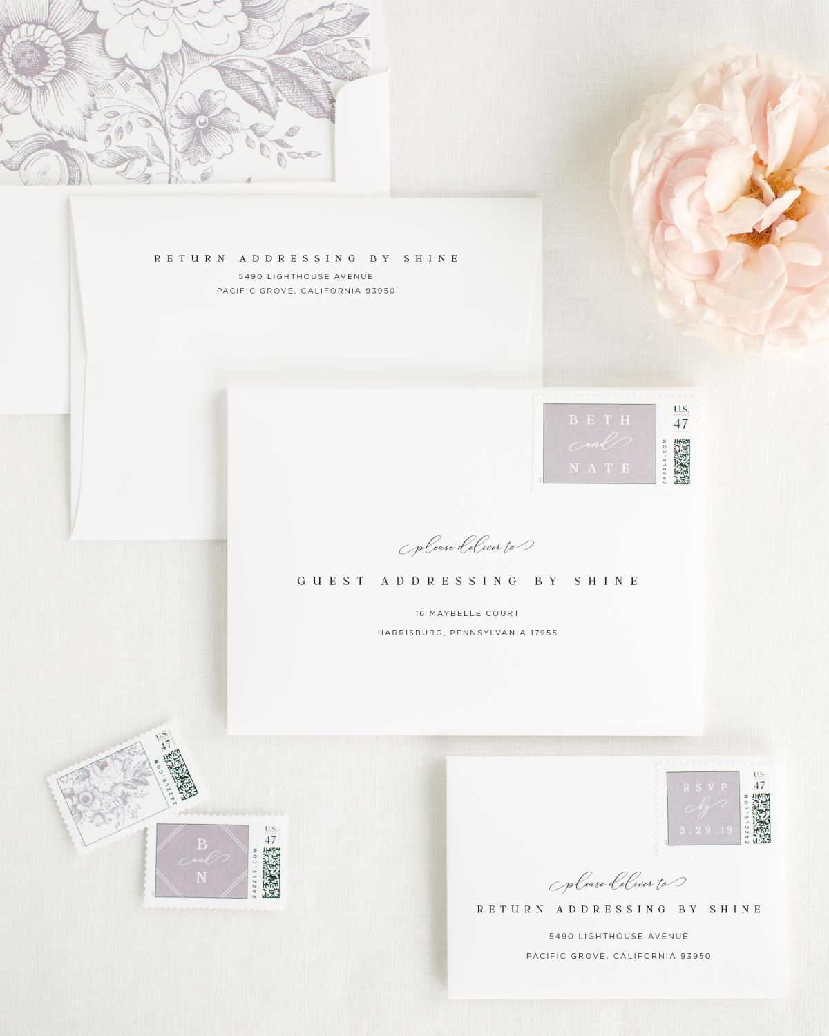 Wedding Invitation Envelopes with Willow Custom Stamps and Garden Rose Liner