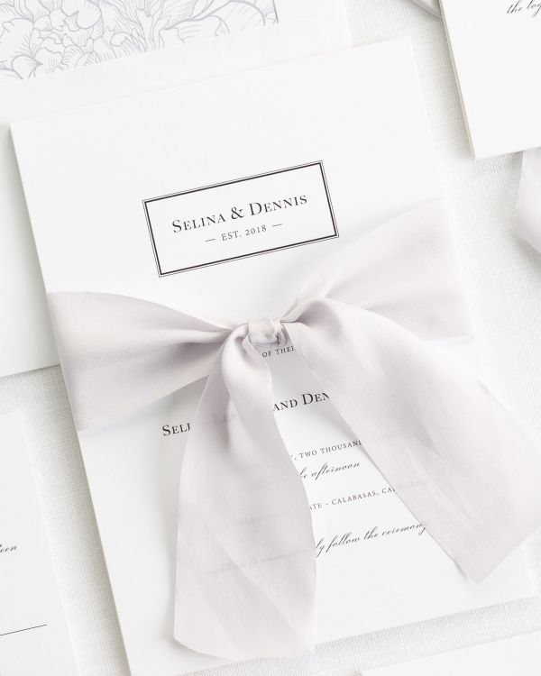 Boxed Monogram Ribbon Wedding Invitations