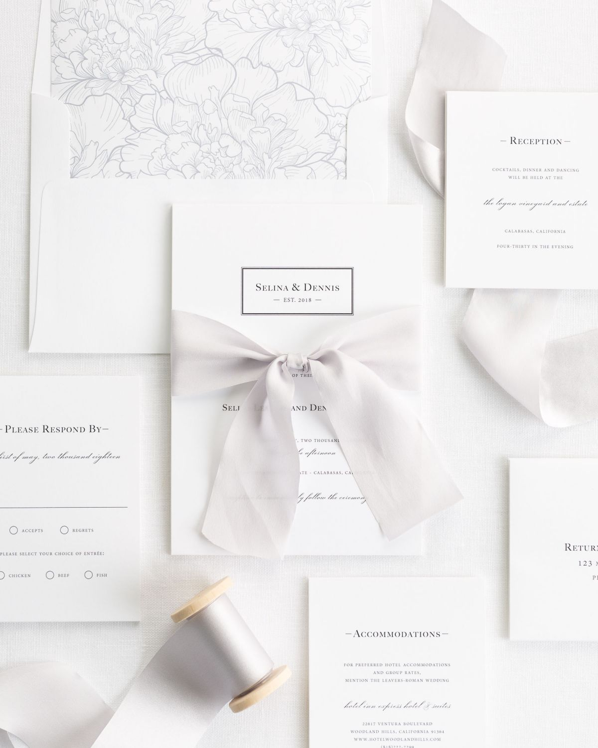 Silver Wedding Invitations with Silk Ribbon and a Floral Envelope Liner