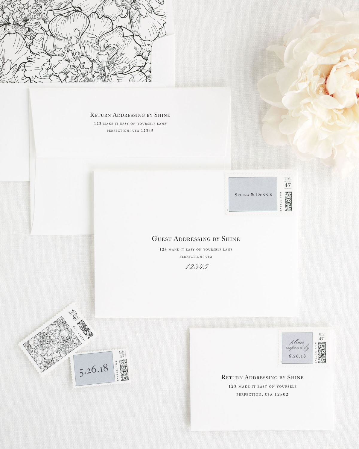 Wedding Invitations Envelopes with Guest Addressing and Personalized Stamps